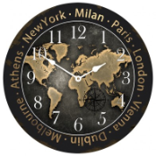 World Traveler Map Clock II