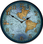 17 Cen Map Clock Blue
