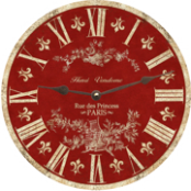 Red Toile Wall Clock