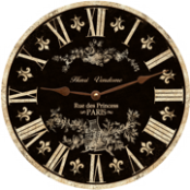 Black Toile Wall Clock 12.5""