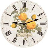 Floral Yellow Roses Wall Clock