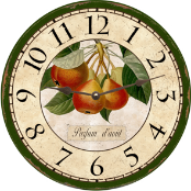 French Pears Wall Clock