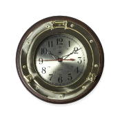 Brass and  Wood Porthole Wall Clock