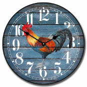 French Rooster Barnwood Wall Clock