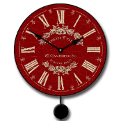 Vintage Red Pendulum Clock