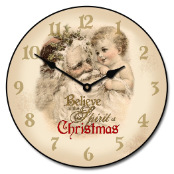 Vintage Santa and Child Clock