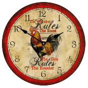Country Rooster Wall Clock