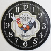Rooster Kitchen Clock Black