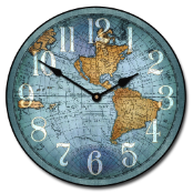 De Vencenzo Map Clock Blue
