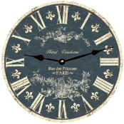 Blue  White Toile Wall Clock