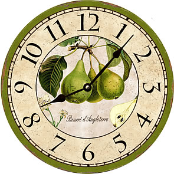 French Green Pears Wall Clock