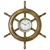 Nautical Brass Oak Ships Wheel