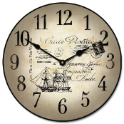 Nautical Clock Tan