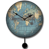 Airplane Map Clock Pendulum