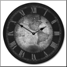Map Clock Black with Roman Numerals