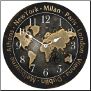 World Traveler Map Clock II (SKU: JTC-WTM2)