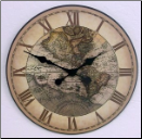 Map Clock Old World