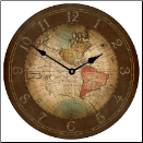 Old World Map Clock 17th Century
