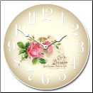Pink Rose Floral Clock (SKU: JTC-ROSE)