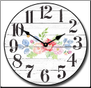 Floral Wall Clock (SKU: JTC-BRNWDFLOR)