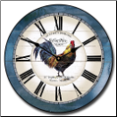 Large Rooster Clock Blue