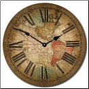 Louis de Vencenzo Map Clock Roman Numerals
