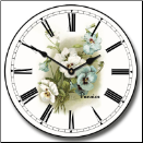 White Pansies Wall Clock (SKU: JTC-WPC)