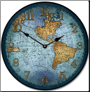 17 Cen Map Clock Blue (SKU: JTC-17CBLUMAP)