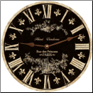 "Black Toile Wall Clock  10"" to 23"" in diameter (SKU: MDC-FTBLK)"