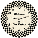 Retro Kitchen Clock (SKU: MDC-BWCKR)