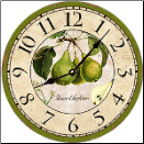 French Green Pears Wall Clock (SKU: MDC-FGPEARS)