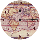 Vintage Map Clock (SKU: ICD-PURMC)