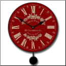 Vintage Red Pendulum Clock (SKU: JTC-VNRDCHARPN)