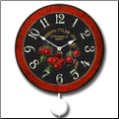Cherries Pendulum Wall Clock