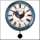 French Rooster Clock Blue