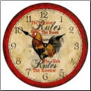 Country Rooster Wall Clock (SKU: JTC-RORULES)