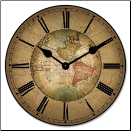 Old World Map Clock