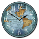 De Vencenzo Map Clock Blue (SKU: JTC-MCBWN)