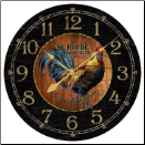 Black & Wood Rooster Clock (SKU: JTC-BAWRC)
