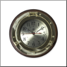 Brass and  Wood Porthole Wall Clock (SKU: BBSQ500)