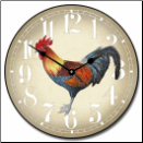 Rooster Clock Fancy Blue