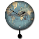 Airplane Map Clock Pendulum (SKU: JTC-AIRPLNPEN)