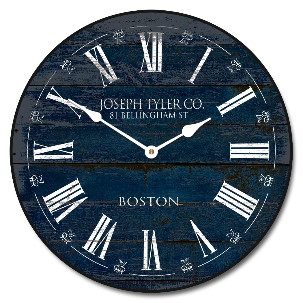 Blue barnwood wall clock navy blue barnwood clock best seller amipublicfo Image collections