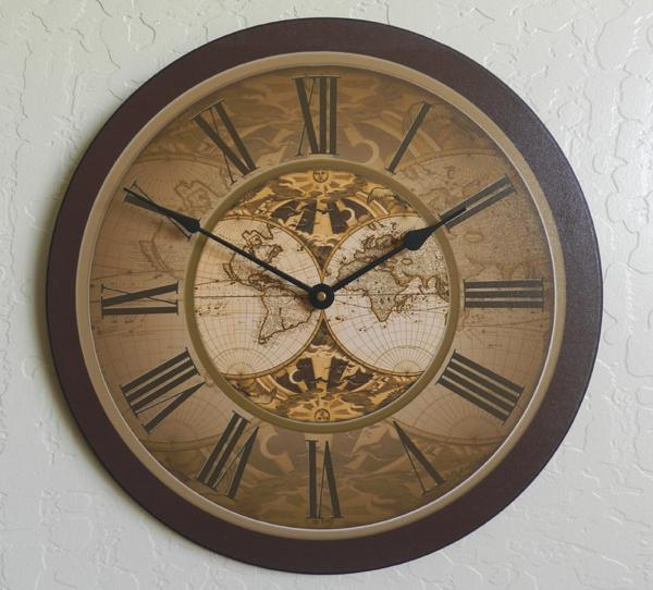 Buy World Map Clock. Old World Map Wall Clock Large